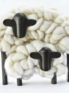 Taller Clavelli Skulptur Mama & Kind Schaf, 100% Correidale Wolle, Uruguay