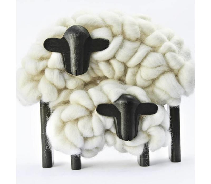Skulptur Mama & Kind Schaf, 100% Correidale Wolle, Uruguay