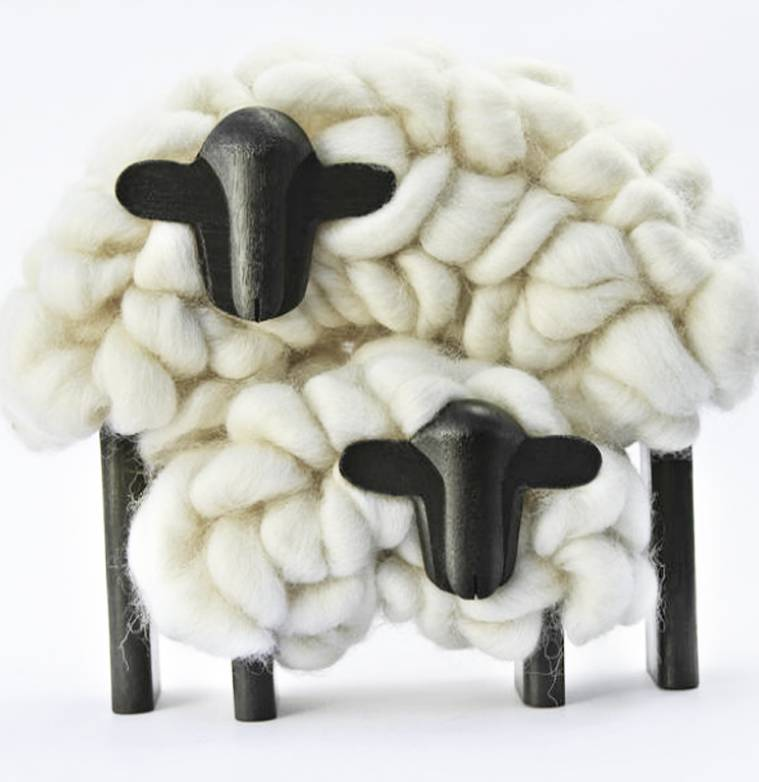 Taller Clavelli Sculpture Mama & Child Sheep, 100% Correidale Wool, Uruguay