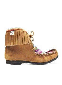 Awayo Schuhe mit Fransen, Leder & Textil