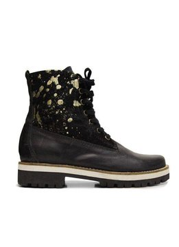 Ankle boots, Black & Gold, 100% Leather