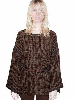 Kanthaka Poncho/Cape, Cloak Pied de Poule, 100% Alpaca Wool Superfine