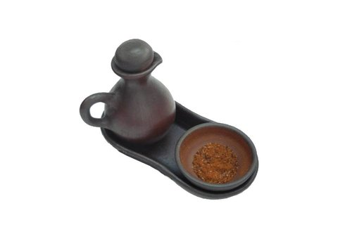 Oil can with spice bowl, Ceramic Pomaire Brown