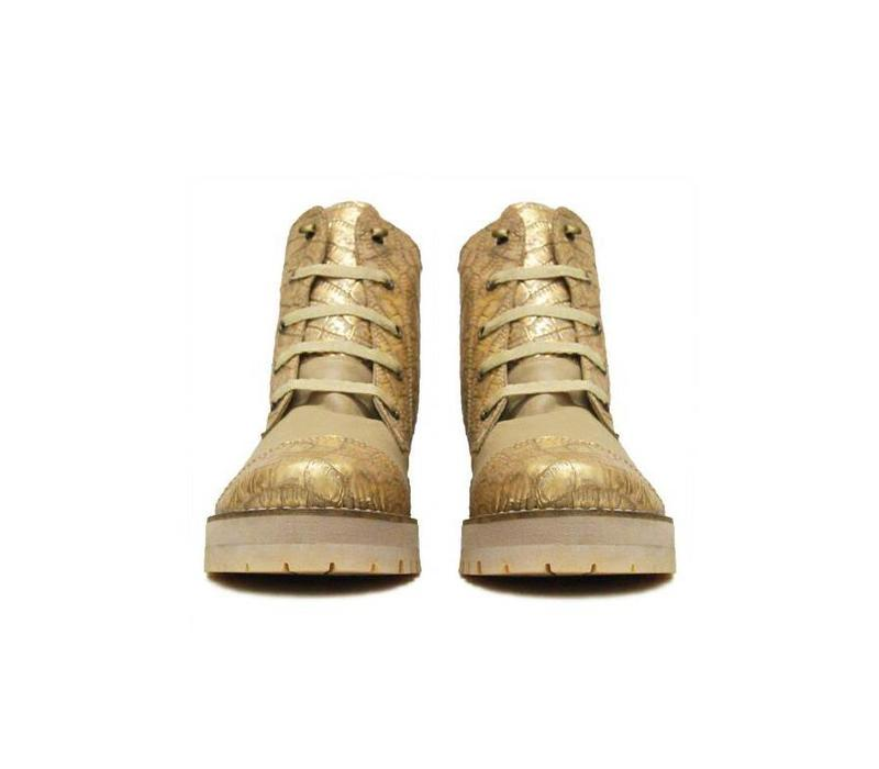 "Ankle Boots ""Cream Goldgator"" 100% Leather"