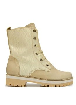 """Matices Ankle Boots """"Cream Gloss"""" 100% Leather and glitter"""