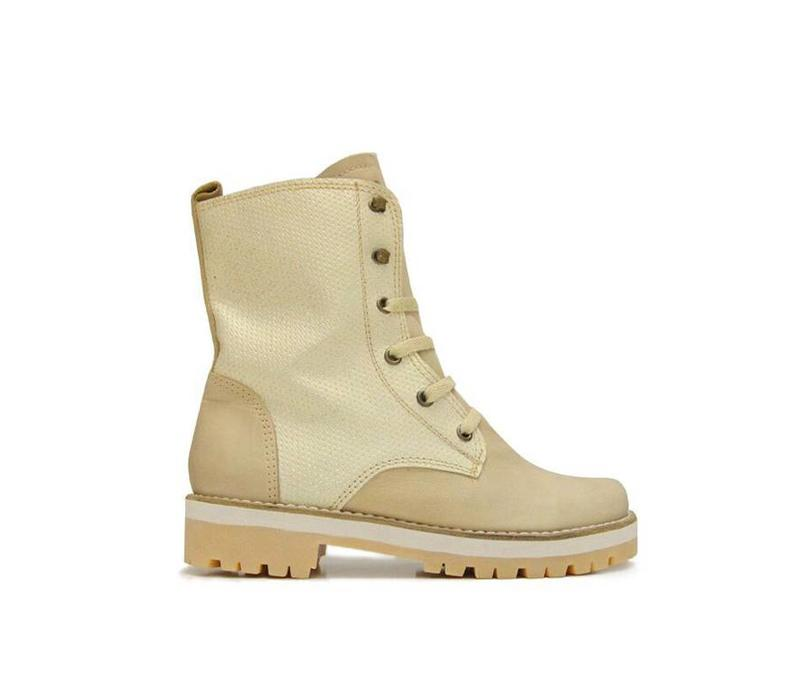 """Ankle Boots """"Cream Gloss"""" 100% Leather and glitter"""