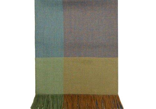 Mora SIlva Scarf Pashmina 100% Baby Alpaca Wool, checkered green