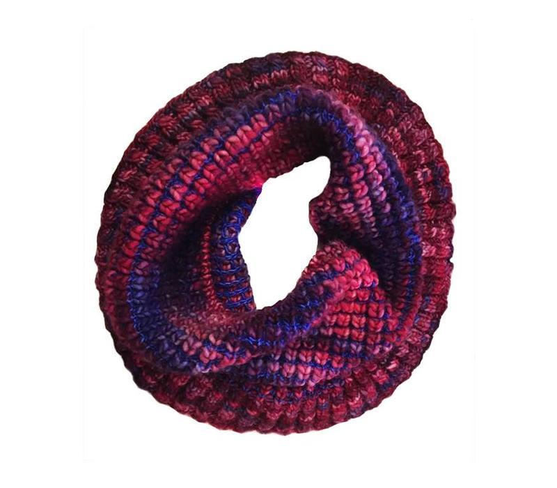 Loopschal Burbuja Blau-Lila, 100% Merino Wolle