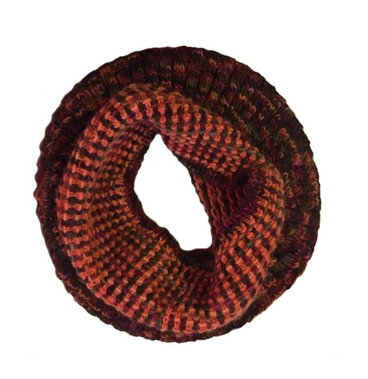 Moncloa Loop scarf Coral Orange, 100% Merino Wool