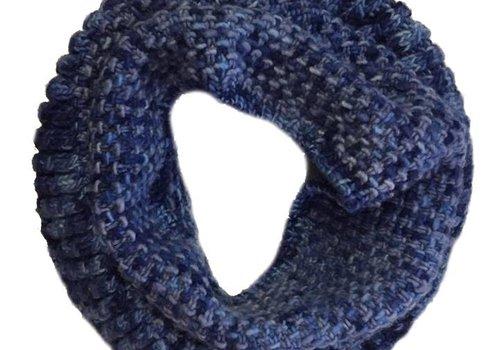 Moncloa Loop scarf Coral Blue, 100% Merino Wool