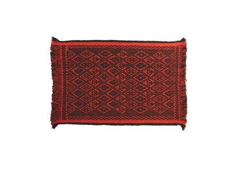 Alfombra Mapuche roja negra, 150x100cm, 100% lana de oveja