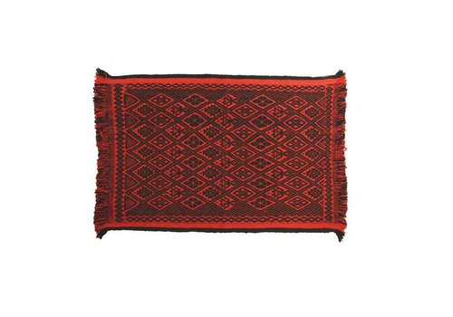 Teppich Mapuche Rot Schwarz, 150x100 cm, 100% Schafwolle