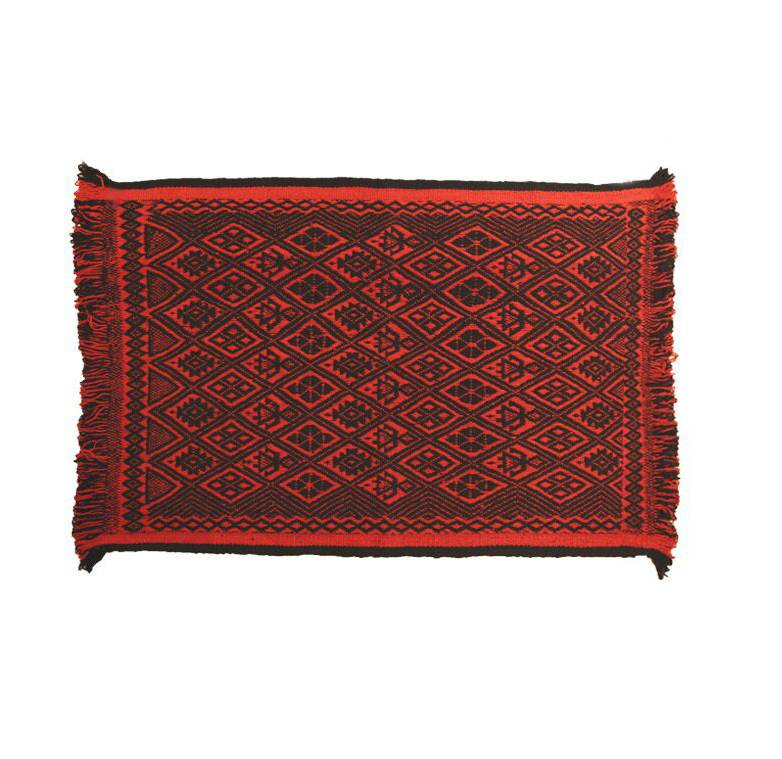 Carpet Mapuche Red Black, 150x100cm, 100% Sheep Wool