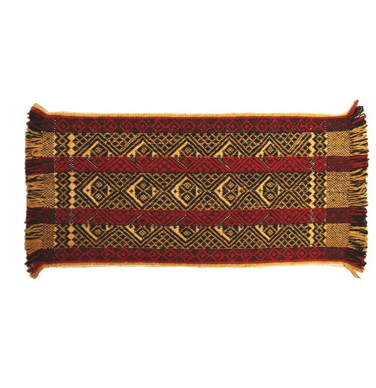 Teppich Mapuche Gelb-Rot-Schwarz, 150x70 cm, 100% Schafwolle