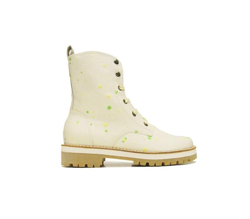 ANKLE BOOTS 100% LEATHER FROM URUGUAY - LIME SPLAT