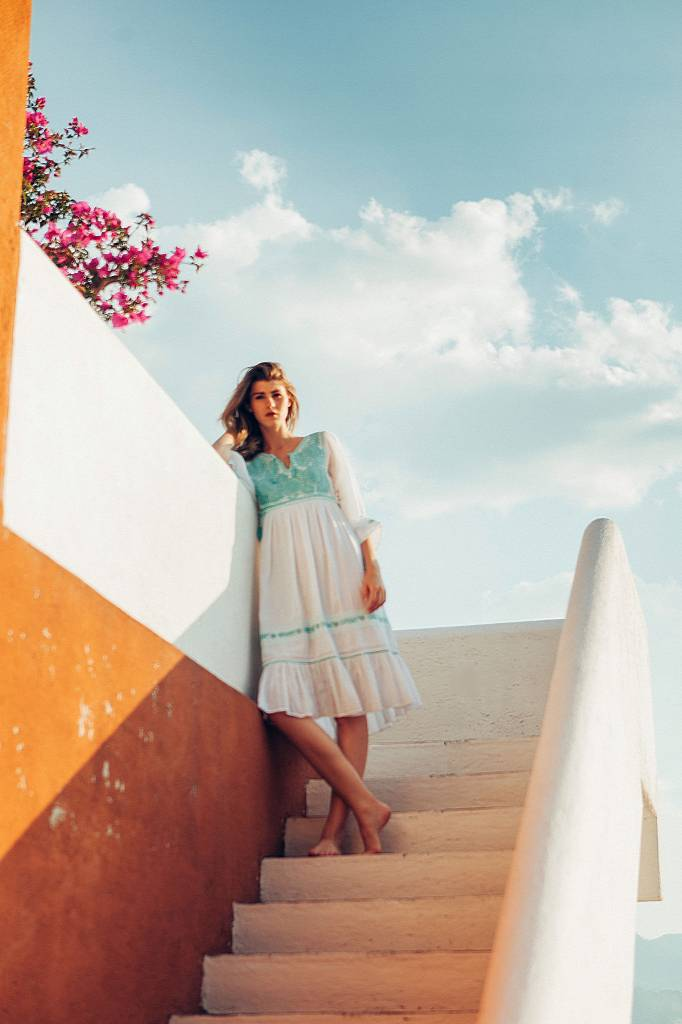 Santa Lupita Eden Garden Dress White Mint
