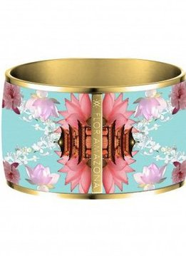 Flor Amazona Enamel Bangle Flor Amazona, Samourai Dream, gold plated 24kt