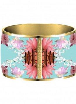 Flor Amazona Enamel Bangle Flor Amazona, Samourai Dream, gold plated 24kt