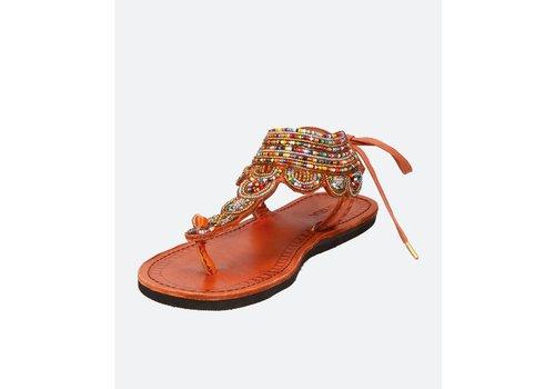 Ishola Sandals plane LĀ dorées multicolores