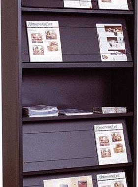 ABC Kantoormeubelen Tijdschriftenkast met 5 legborden in kleuren grijs  zwart en antraciet