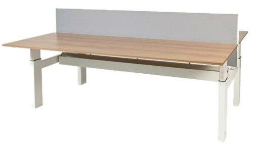 Schaffenburg Avitus Duo werkplek, hoogte verstelbaar dmv slinger (62-85cm) met 120x80cm 20mm melamine bladen en H-frame