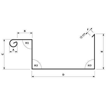 Zetwerk zink - Dakgoot op maat Type 1