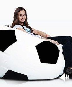 Voetbal zitzak leatherlook Ø 120cm wit/zwart