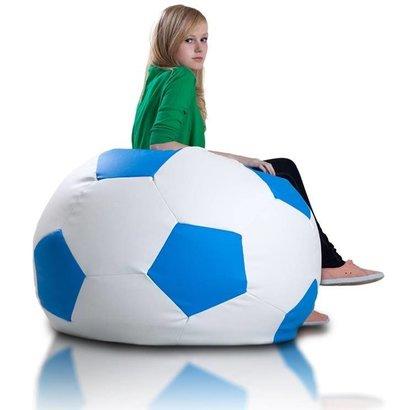 Bomba Voetbal zitzak leatherlook Ø 90cm wit/blauw
