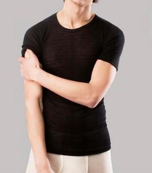Living Crafts Heren korte mouw wol/zijde Onderhemd