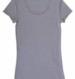 JOHA Joha Dames T-shirt Wol/zijde Grijs melange