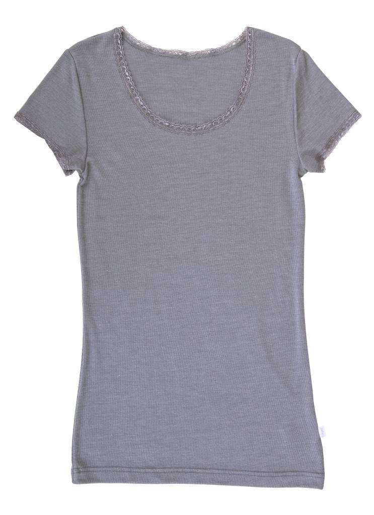 JOHA Joha Dames T-shirt Wol/zijde Grijs melange 12243