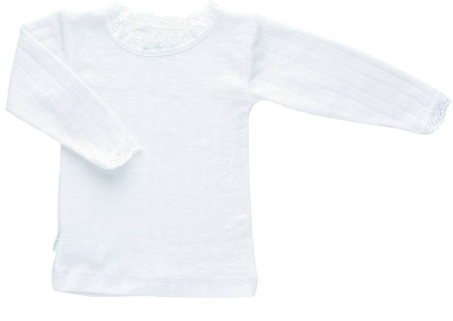 JOHA Joha Meisjeshemdje lange mouw met kant wol/zijde 16490