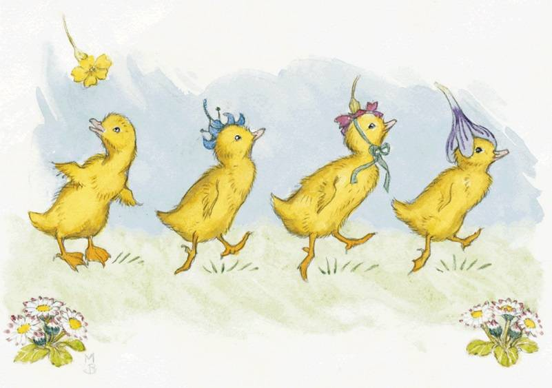 Molly Brett, Four Ducklings wearing Flowers PCE 126