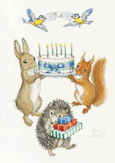 Molly Brett, Rabbit and Squirrel holding Birthday Cake PCE 134