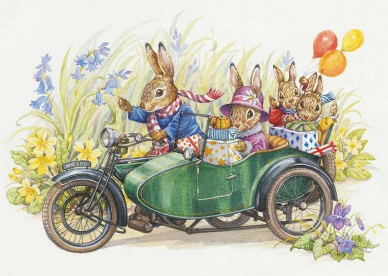 Audrey Tarrant, Rabbit Family riding in Motorcycle and Sidecar PCE 163
