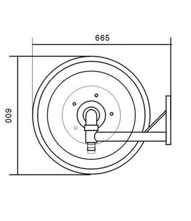 """Mobiak Brandhaspel automatisch zwenkbaar met 1"""" blusslang"""