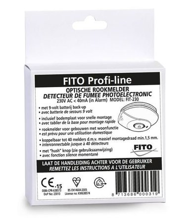 FITO FITO Profi-line rookmelder 230V met 9V backup batterij