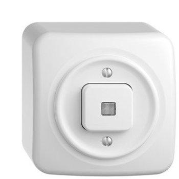 Feller AP bouton poussoir lumineux StandardDue schéma 6, blanc avec lentille, KS, LED jaune