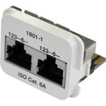 Adapter 2×RJ45 ISO Kat.6A perlweiss geschirmt, 100Base-T/100Base-T