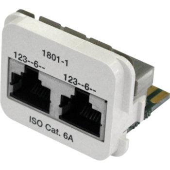 Adapte.2 × RJ45 Cat.6A ISO pl-ws blindés, 100Base-T / 100Base-T