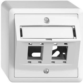 Feller AP set de montage EDUE freenet sortie inclinée, pour 2 × RJ45 blanc
