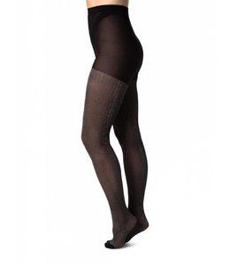 Swedish stockings Rib lurex black