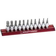 Kraftwerk 11-teiliger Torx-Steckschlüsseleinsätze-Satzz auf magnetischer Stecknuss-Schiene.