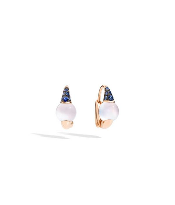 Pomellato M'ama Non M'ama Earring Drops 18 Carat Rose Gold with moonstone and Blue sapphire