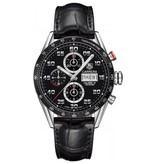 Tag Heuer Carrera Day Date Chrono Horloge Staal / Zwart / Crocoleder