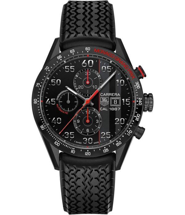 Tag Heuer Carrera Calibre 1887 Chronograph Monaco Grand Prix Horloge Titanium / Zwart / Rubber