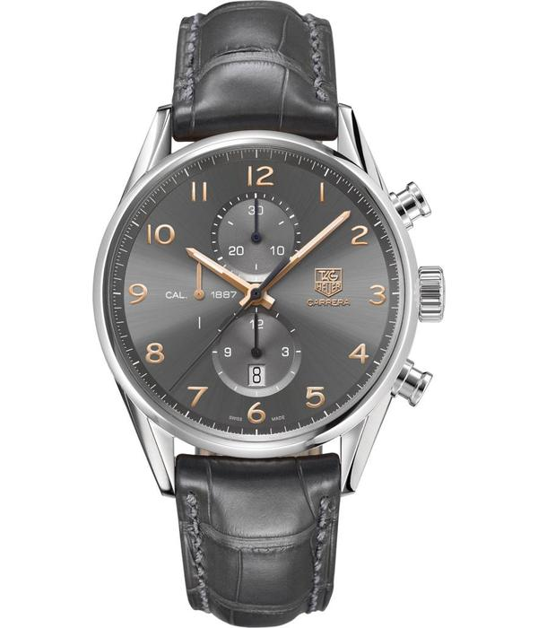 Tag Heuer Carrera Chronograph Calibre 1887 Horloge Staal / Grijs / Alligatorleder