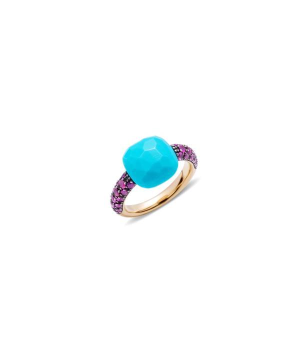 Pomellato Capri Ring Gold 18 Carat Rose Gold Capri Turqouise/Ruby