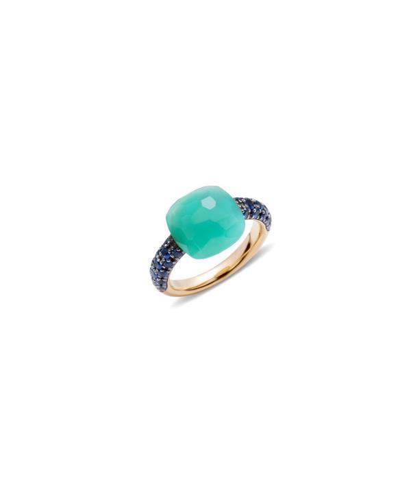 Pomellato Capri Ring goud 18K Roségoud Capri chrysopraas blauw saffier