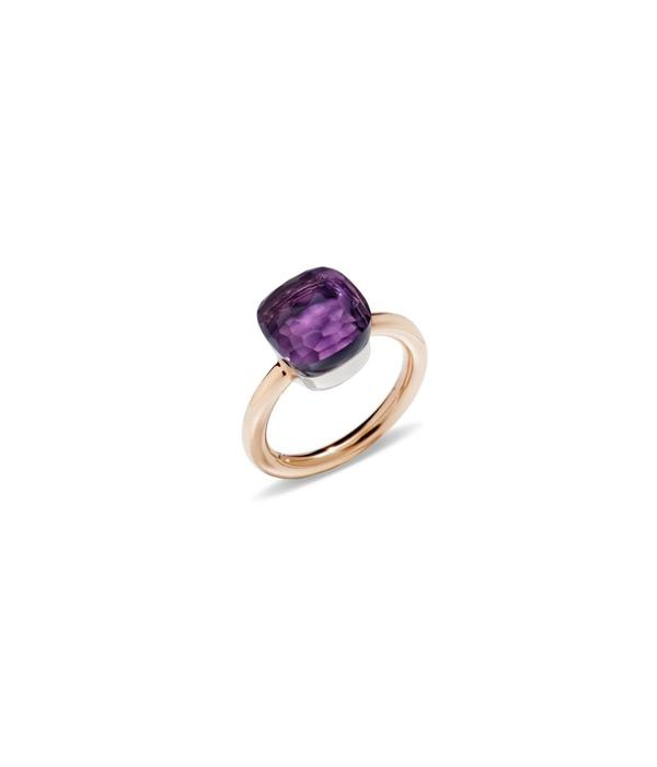 Pomellato Nudo Ring Gold 18 Carat Rose and White Gold amethyst